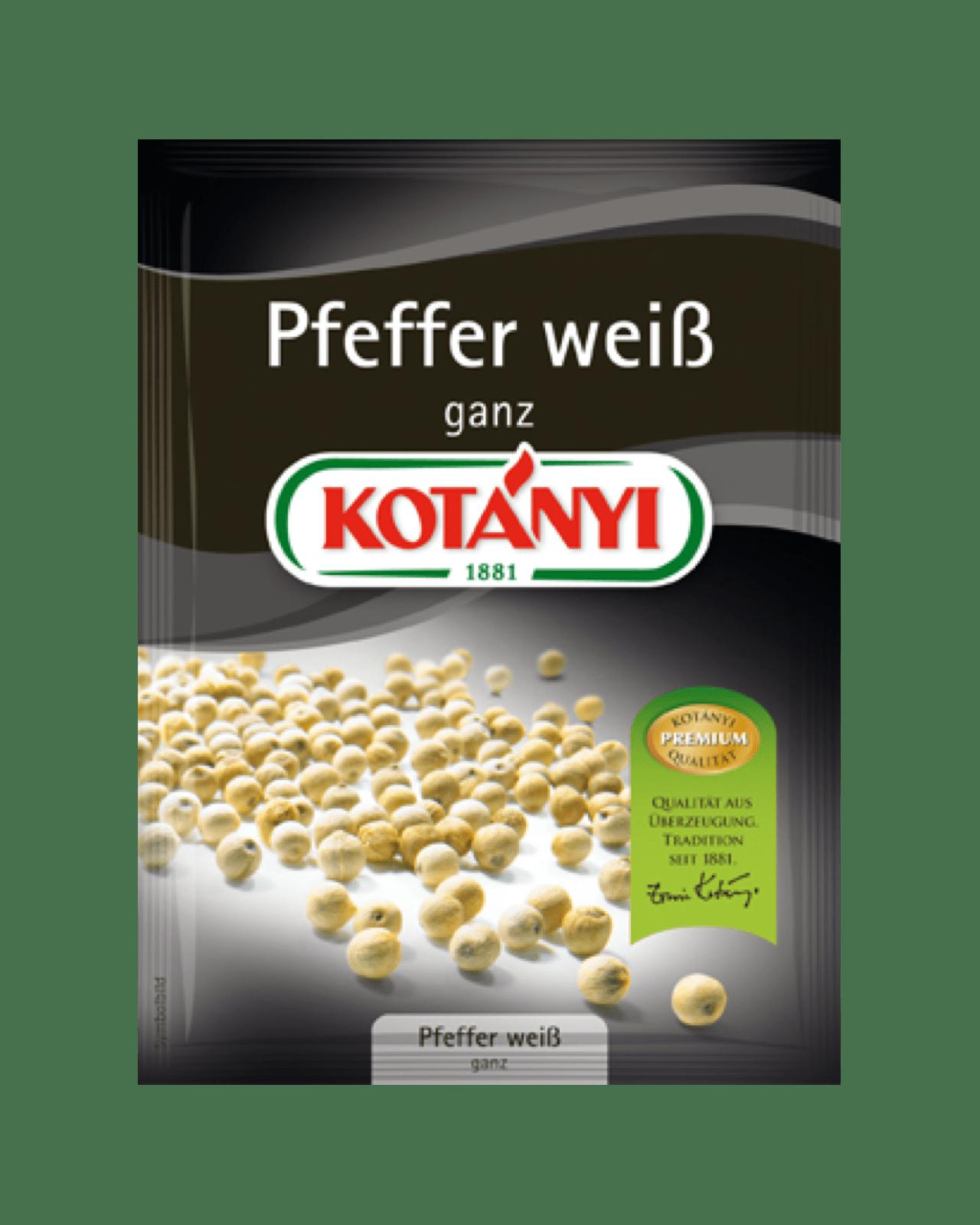 Kotányi Pfeffer weiss ganz im Brief
