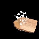 Stück Buchenholz und Meersalz