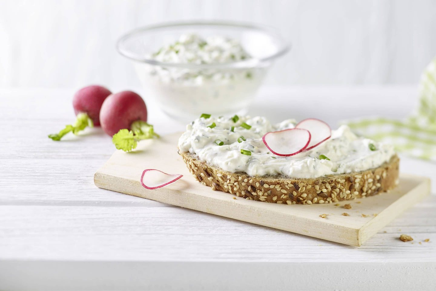 Cottage cheese with herbs of Provence on multigrain bread