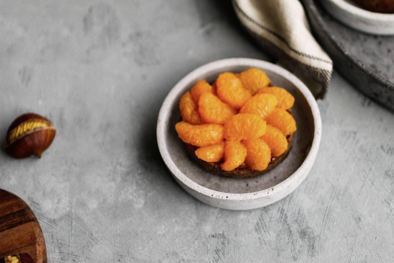 Maroni Tartes mit Mandarinen Topping und Lebkuchen-Gewürz