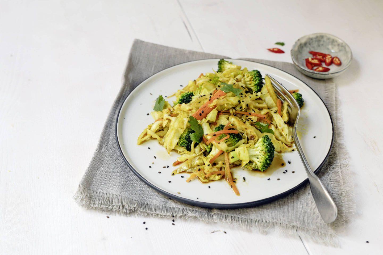 Kraut, KArotten und Brokkoli aus dem Wok mit VEGGY Exotic