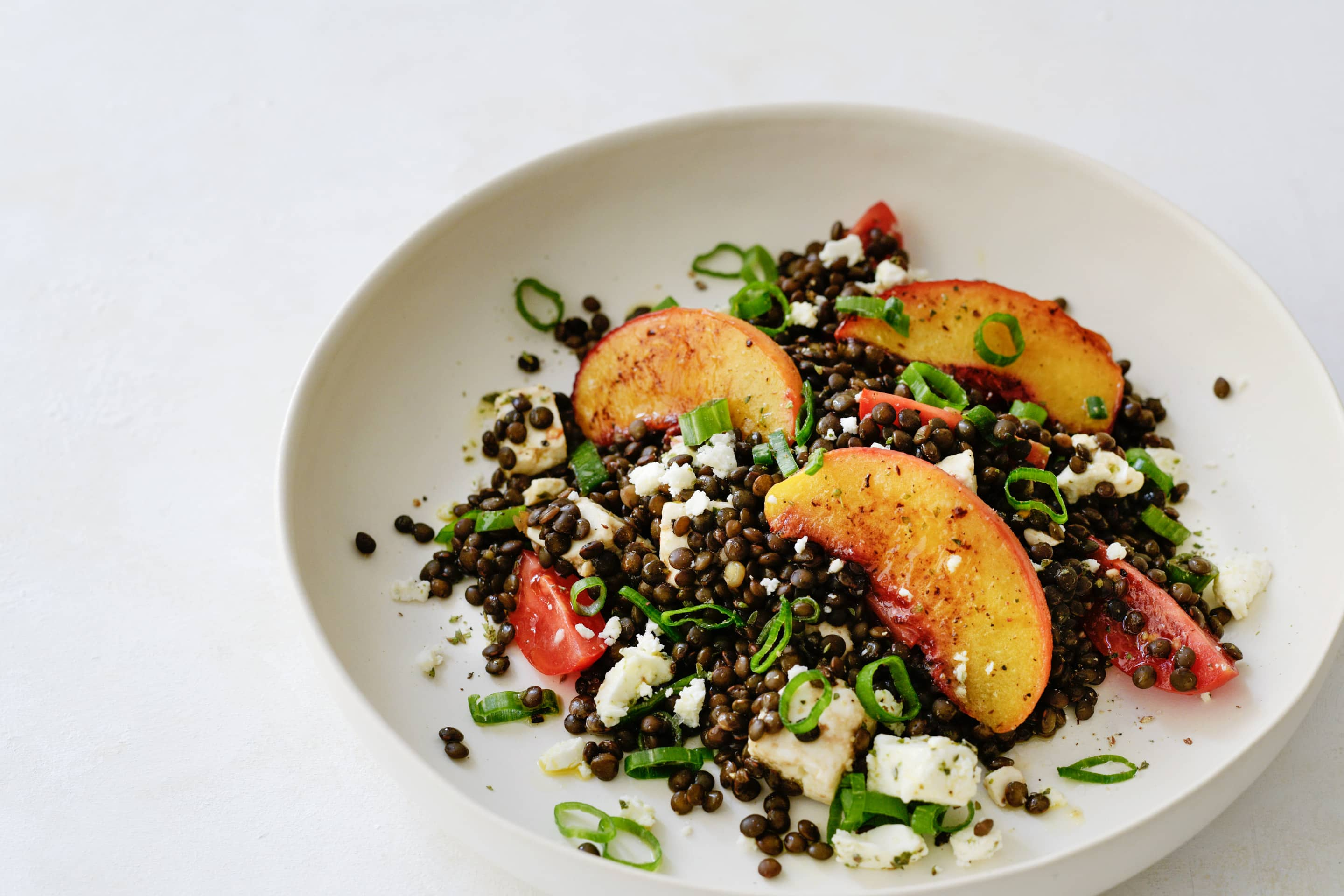 Beluga Lentil Salad With Peach And Feta Recipe Kotanyi