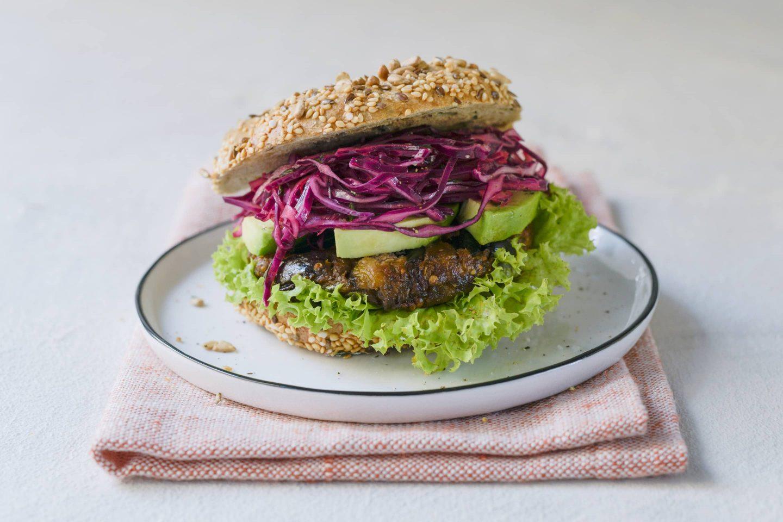 Veganer Burger Melanzani