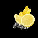 Zitronenschiebe und Schale mit schwarzem Pfeffer