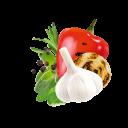 Paprika, Knoblauch, gegrillte Zwiebel, Rosmarin und Majoran