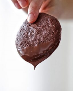 two fingers holding a chocolate cookie with dripping chocolate