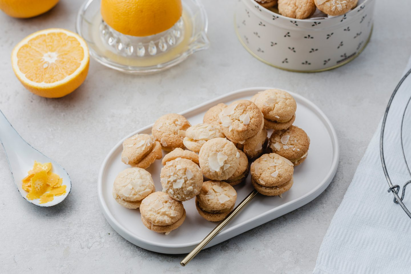 Cookie With Orange And Almond on an oval plate
