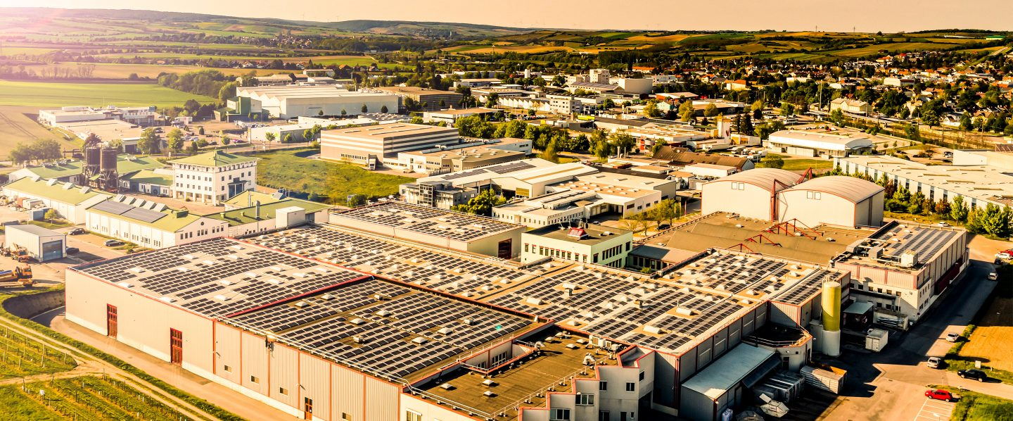 Kotányi's company building in Wolkersdorf photographed from a bird's eye view