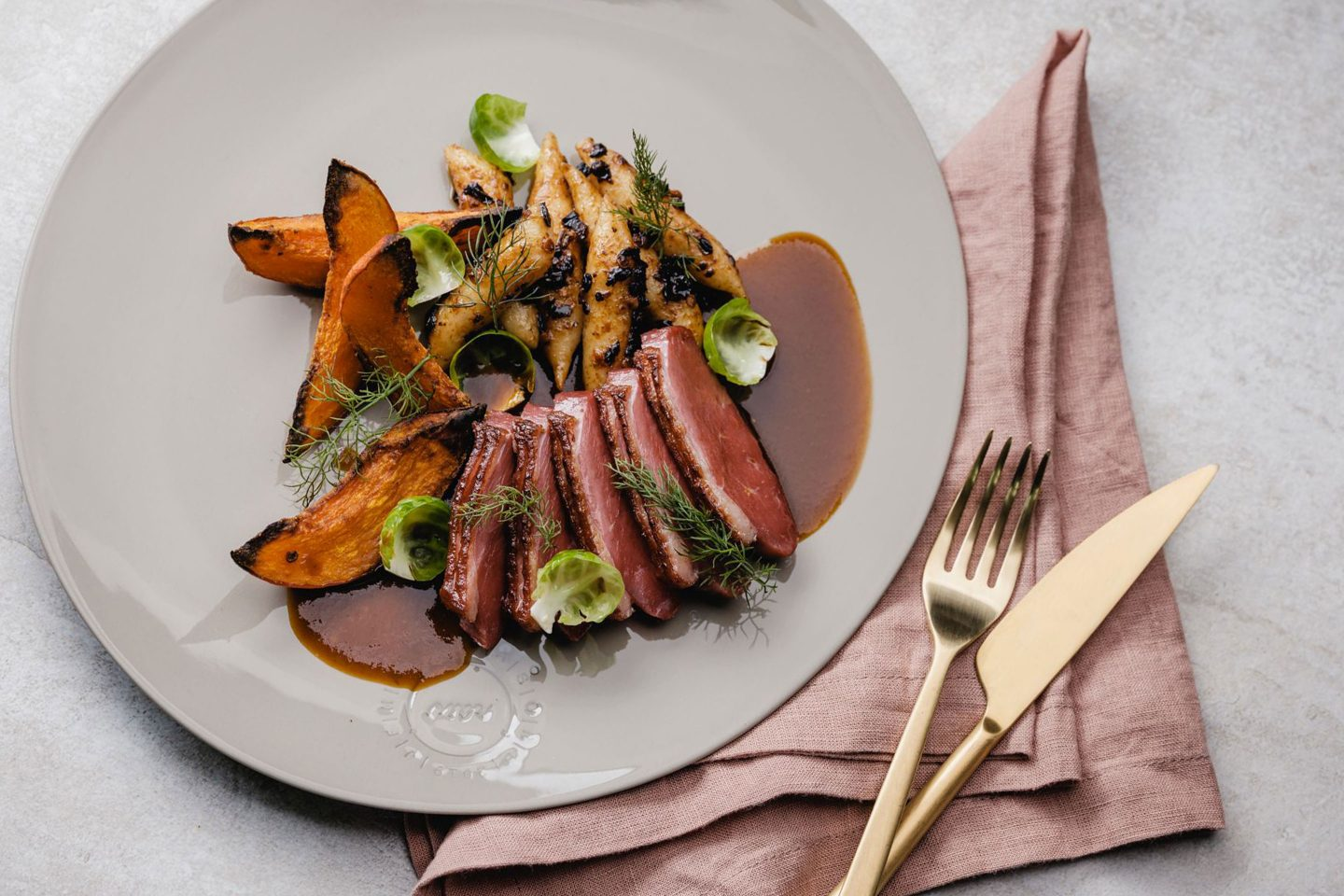 Duck Breast With Spicy Potatoe Noodels And Pumpkin