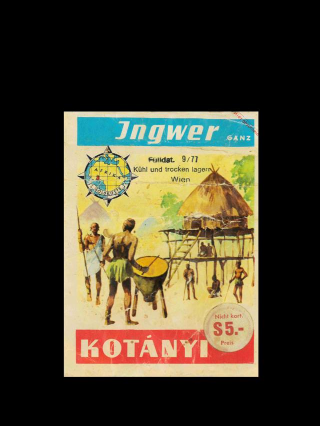 A Kotányi ginger sachet from the 1970s.