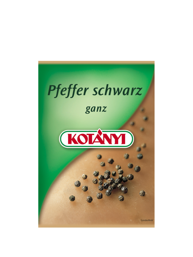 A Kotányi sachet for black pepper from the 2000s.