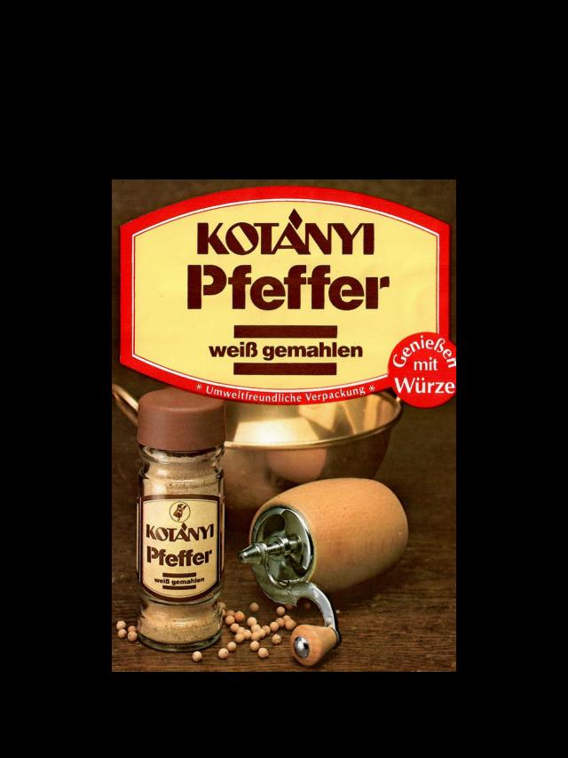 A Kotányi sachet for white pepper from the 1980s.
