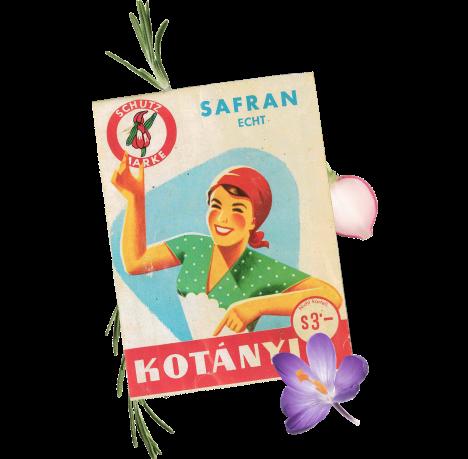 A sachet of Kotányi Saffron from the 1970s.