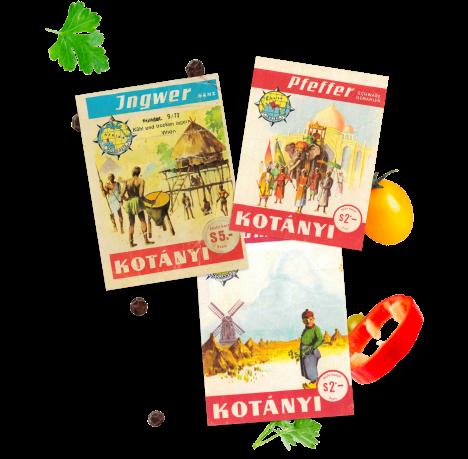 Kotányi spice sachets from 1961.