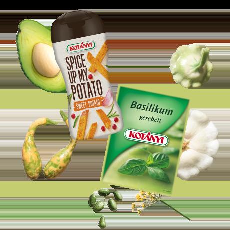 An assortment of modern Kotányi spice packaging.