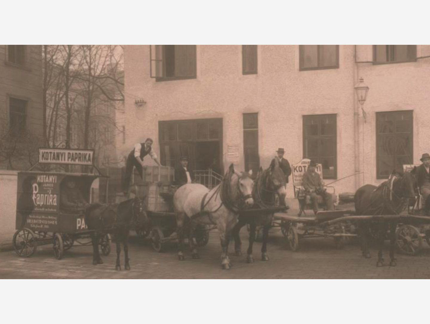 Black-and-white photograph: Paprika deliveries by horse-drawn carriage in 1881