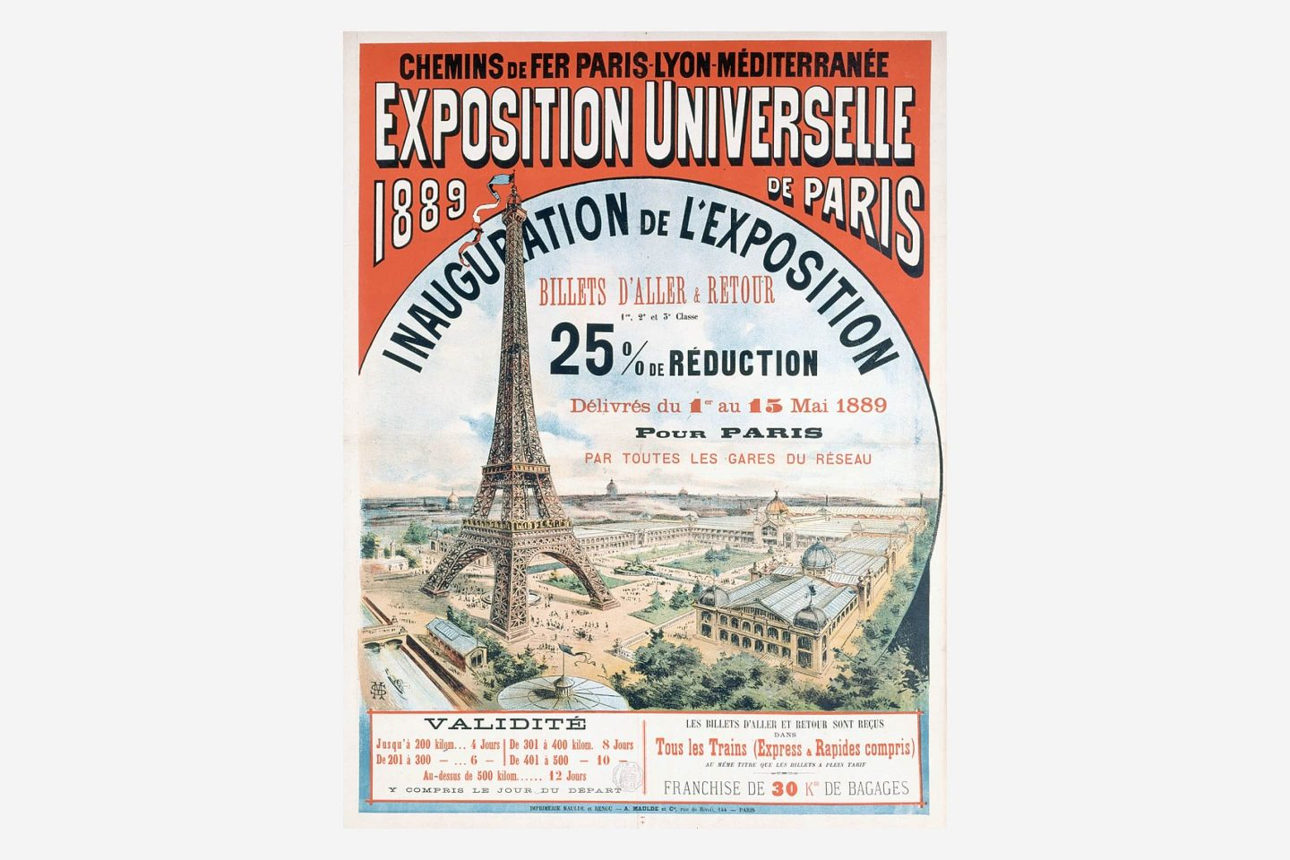 Poster of the Paris Exposition in 1889 with a drawing of the Eiffel Tower.