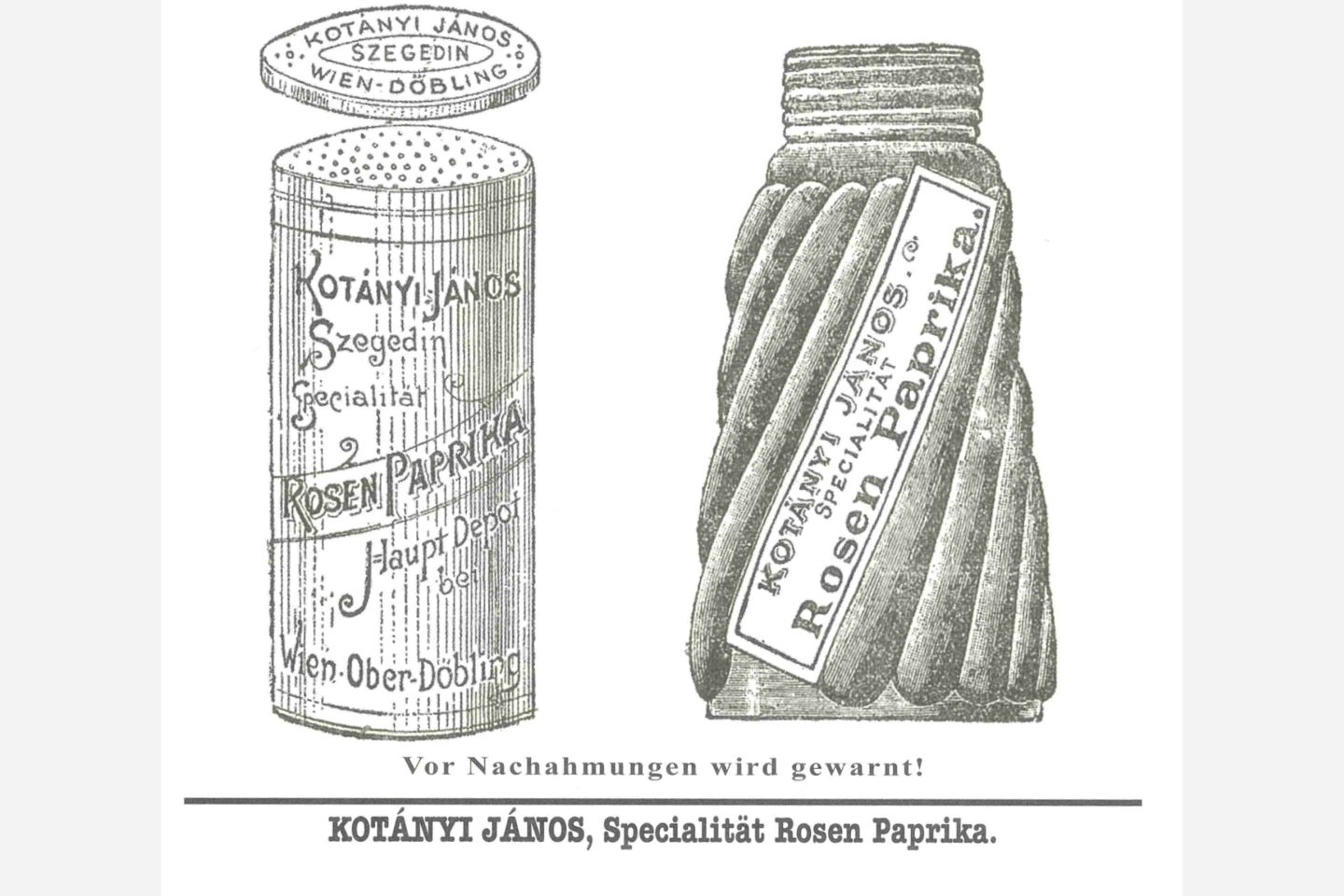 A drawing of the Kotányi paprika shaker from 1900.