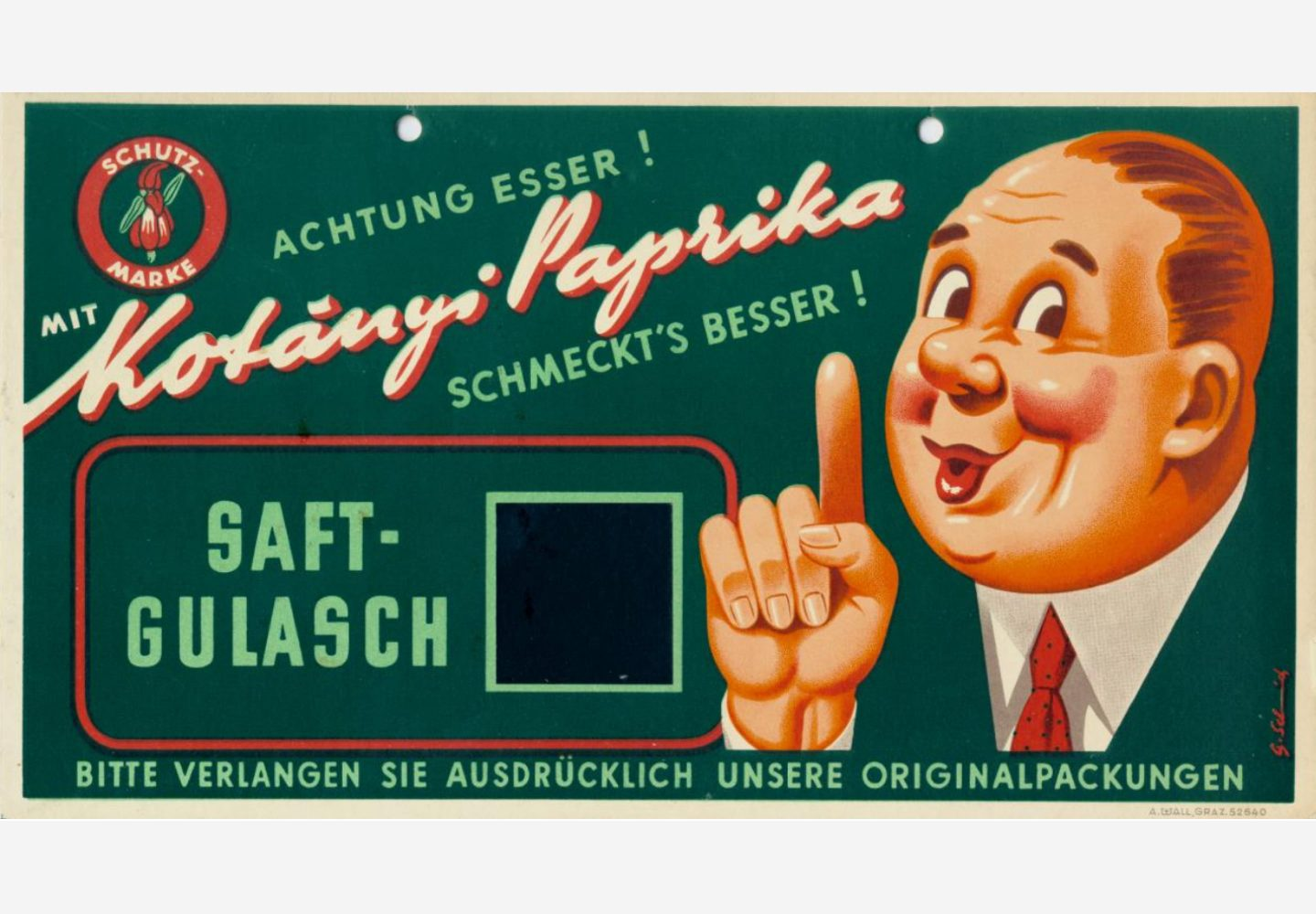 A Kotányi advertising sign for goulash from the 1950s.
