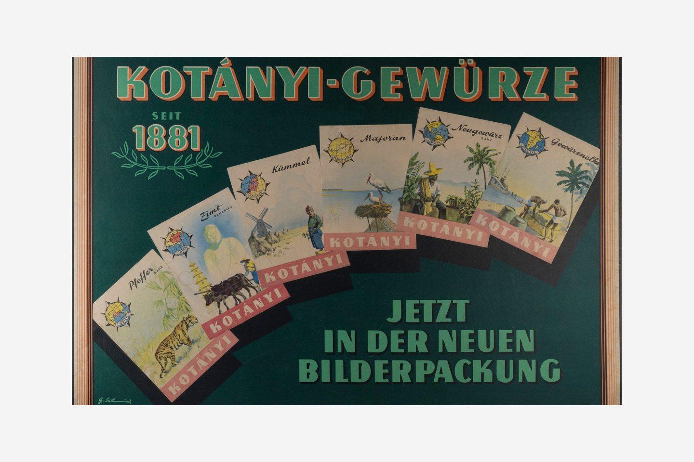 Kotányi advertising poster for illustrated sachets from 1970.