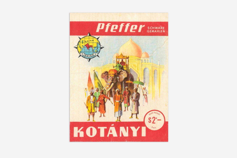 Kotányi pepper sachet from 1970.