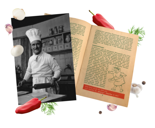 Television chef Franz Ruhm and a picture of a copy of his Kotányi cookbook.