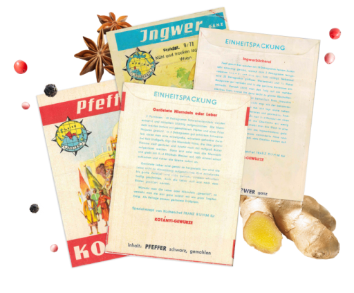 Kotányi spice sachets featuring recipes from the 70s.