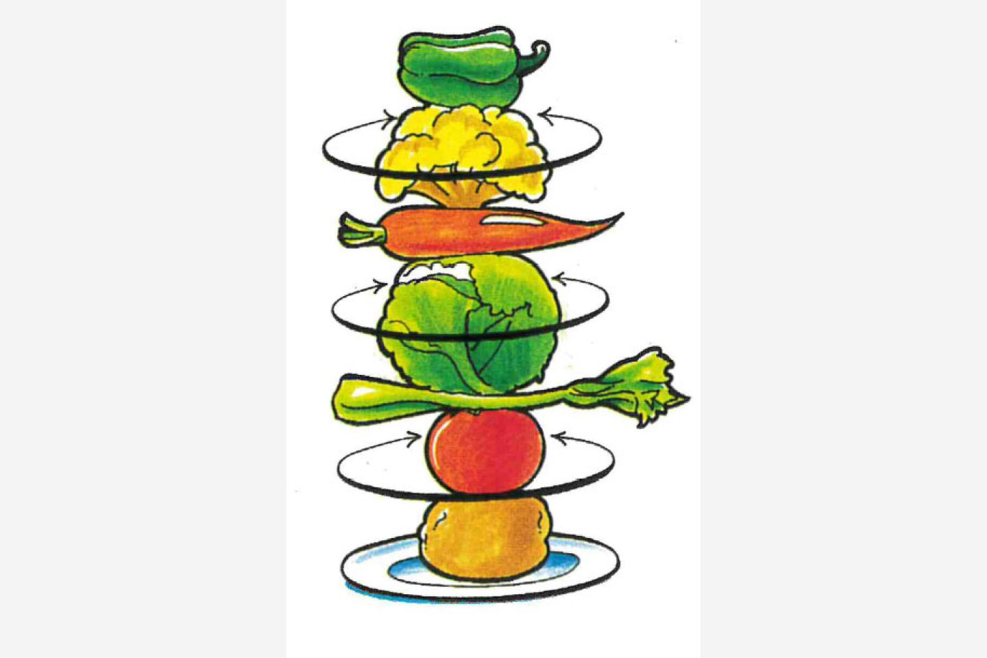 Illustration of a vegetable stack.
