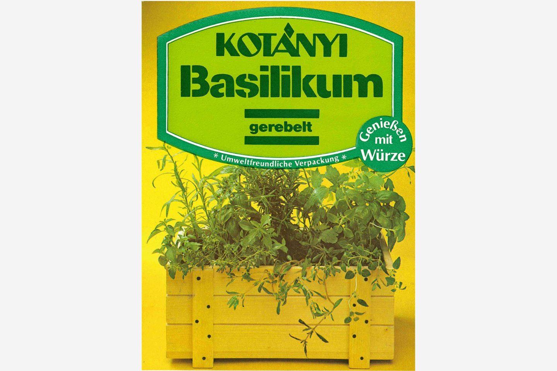 Kotányi environmentally friendly basil sachet from the 1980s.