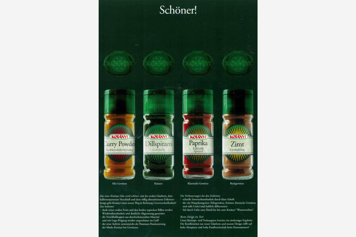 Kotányi advertising poster for spice in glasses from the 2000s